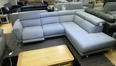 Italian electric recliner corner suite grey £1699 (CARDIFF SUPERSTORE)  - Click for more details