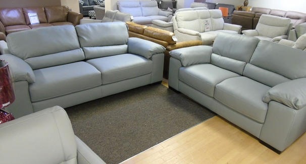 Softaly 3 seater and 2 seater grey leather £2299 (CARDIFF SUPERSTORE)