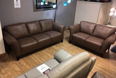 Palermo 3 seater and 2 seater sand leather (SWANSEA LEATHER STORE) - Click for more details