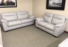 Valencia 3 seater and 2 seater light grey £1499 (SWANSEA LEATHER STORE) - Click for more details