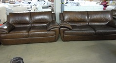 Tan leather 3 seater and 2 seater £99 - Click for more details
