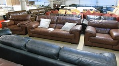 Rosa tan leather 3 seater and 2 chairs £299  - Click for more details