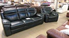 Violino blue leather 3 seater and 1 electric recliner chair £299 - Click for more details