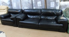 Rosa black leather 3 seater and 1 chair £299 - Click for more details