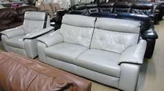 Le mans stone leather 3 seater and 1 chair £399 - Click for more details