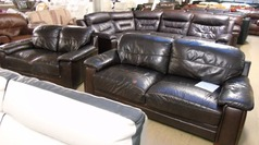 Brown leather 3 seater and 2 seater £49.00 - Click for more details