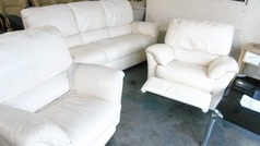 Natuzzi 3 seater, chair and recliner chair light cream £149 - Click for more details
