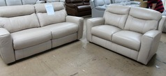 Grenoble electric recliner 3 seater and 2 seater biscuit hide £1499 (SWANSEA SUPERSTORE) - Click for more details