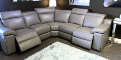 PALLINURO double electric recliner corner suite grey £1999 (SWANSEA SUPERSTORE) - Click for more details