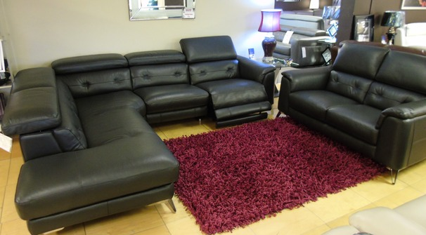 Toulon electric recliner corner suite and 2 seater slate grey £3499 (SWANSEA SUPERSTORE)