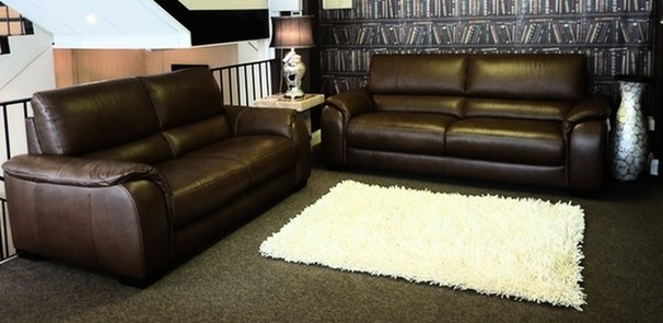 Amalfi 3 seater and 2 seater mid brown £1999 (CARDIFF SUPERSTORE)