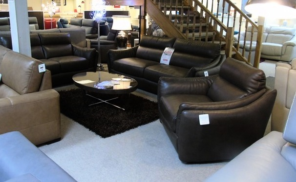 Anzio 3 seater, 2 seater and chair brown £1999 (CARDIFF SUPERSTORE)