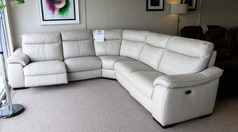 Marseiile  double electric recliner corner suite stone hide £1999 ( CARDIFF SUPERSTORE) - Click for more details