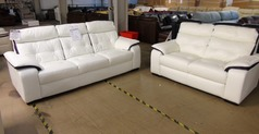 Lyon 3 seater and 2 seater white/purple £999 (SWANSEA SUPERSTORE) - Click for more details