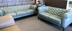 Ravenna 3 seater and 2 seater green leather £1999 (CARDIFF SUPERSTORE) - Click for more details