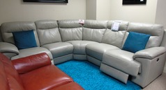 Paris  double elctric recliner corner suite grey £1999 (CARDIFF SUPERSTORE) - Click for more details
