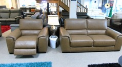 Imola 3 seater and 1 electric recliner chair mustard £1999 (CARDIFF SUPERSTORE) - Click for more details
