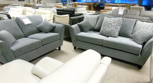 Vestra 3 seater and 2 seater light tgrey fabric  £999 (CARDIFF SUPERSTORE)