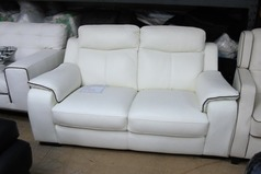 Riems 2 seater white- black piping £299 (SWANSEA SUPERSTORE) - Click for more details