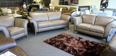 LUCCA 3 seater, 2 seater and chair taupe hide £1999 (SWANSEA SUPERSTORE) - Click for more details