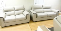 NEW TREND cream leather 3 seater and 2 seater £1499 (SWANSEA SUPERSTORE) - Click for more details