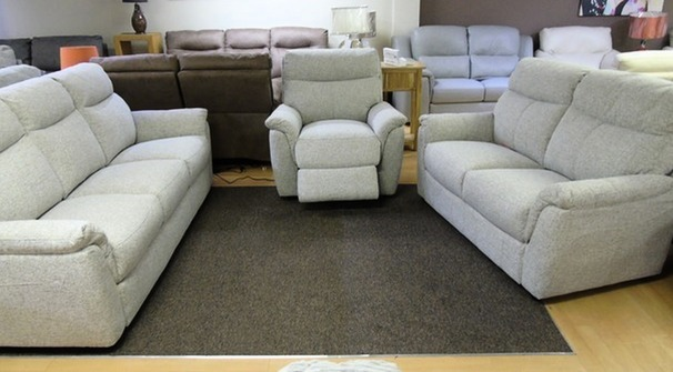 Brussels 3 seater, 2 seater and 1 electric recliner chair beige £1499 (SWANSEA SUPERSTORE)