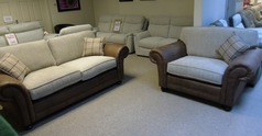 Darwin 3 seater and large chair tan-cream £899 (CARDIFF SUPERSTORE) - Click for more details
