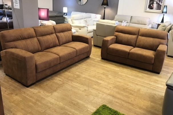 Faro 3 seater and 2 seater tan £1499 (CARDIFF SUPERSTORE)