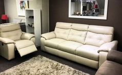 Lyon 3 seater and 1 electric recliner chair beige £999 (SWANSEA SUPERSTORE) - Click for more details
