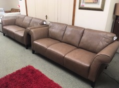 Palermo 3 seater and 3 seater sand £999 (SWANSEA LEATHER STORE) - Click for more details