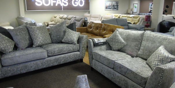 Ashford 3 seater and 2 seater grey fabric £1199 (SWANSEA SUPERSTORE)