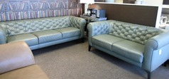 Ravenna 3 seater and 2 seater green leather £1499 (SWANSEA SUPERSTORE) - Click for more details