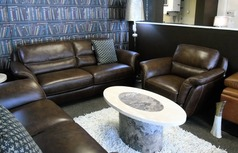 Julian 3 seater and 1 chair brown leather - Click for more details
