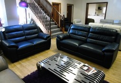 Charlotte 3 seater and 2 seater navy £1499 (SWANSEA LEATHER STORE) - Click for more details