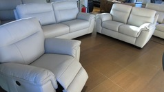 Valencia 3 seater 2 seater and electric recliner chair  light grey £1499 (SWANSEA SUPERSTORE) - Click for more details