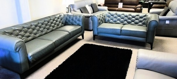 Ravenna 3 seater and 2 seater green leather  £1499 (CARDIFF SUPERSTORE)