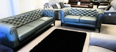 Ravenna 3 seater and 2 seater green leather  £1499 (CARDIFF SUPERSTORE) - Click for more details