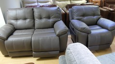 Modena electric recliner 2 seater and 1 chair grey £1299 (SWANSEA SUPERSTORE) - Click for more details