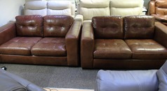 FARO 2 seater and 2 seater vintage brown £1299 (SWANSEA SUPERSTORE) - Click for more details