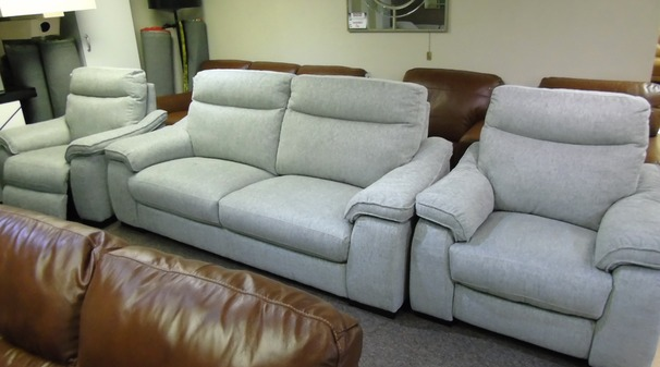 Marseille 3 seater and 2 electric recliner chairs grey £1499 (SWANSEA SUPERSTORE)