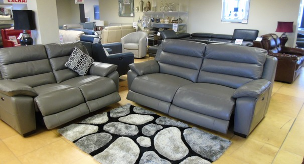 Charlotte electric recliner 3 seater and 2 seater grey £2499 (SWANSEA SUPERSTORE)