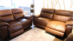 Normandy electric recliner 3 seater and 2 seater mid brown £1999 (SWANSEA SUPERSTORE) - Click for more details