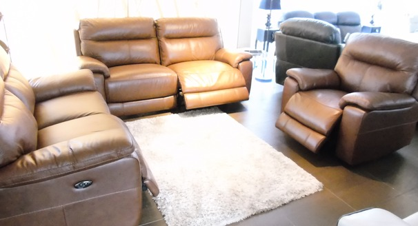 NORMANDY electric recliner 3 seater, 2 seater and chair £2499 (SWANSEA SUPERSTORE)