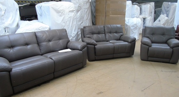 Modena electric recliner 3 seater,  2 seater and chair grey £1899 (SWANSEA)