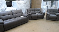Modena electric recliner 3 seater,  2 seater and chair grey £1899 (SWANSEA) - Click for more details