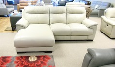 Paris chaise sofa stone leather £799 (CARDIFF SUPERSTORE) - Click for more details