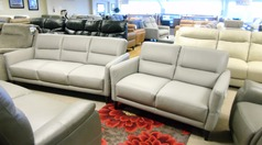San Remo 3 seater and 2 seater grey leather £1249 (CARDIFF SUPERSTORE) - Click for more details