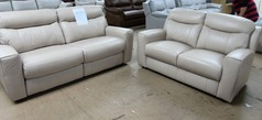 Grenoble electric recliner 3 seater and 2 seater biscuit hide £999 (SWANSEA SUPERSTORE) - Click for more details