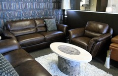 Julian 3 seater and 1 chair brown leather £999 (SWANSEA SUPERSTORE) - Click for more details