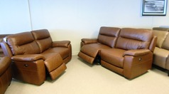 Normandy electric recliner 3 seater and 2 seater mid brown £1999 (CARDIFF SUPERSTORE) - Click for more details